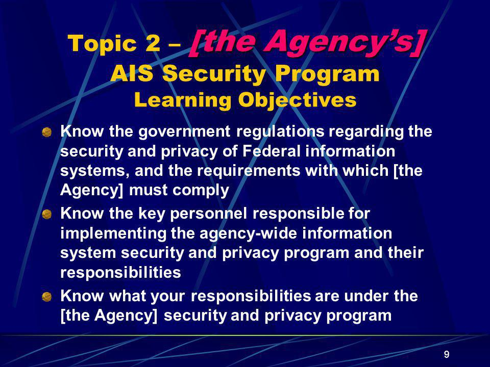 Topic 2 – [the Agency's] AIS Security Program Learning Objectives